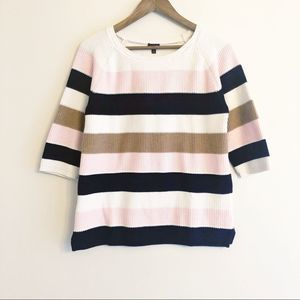Talbots | 3/4 sleeve striped sweater size small